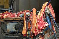 Yak meat on display for sale at Tromsikhang Market, Barkhor, Lhasa, Tibet.