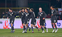 Carlos Bocanegra (3) of the USA celebrates scoring the opening goal of the game off a free kick by Landon Donovan (10). The United States defeated Poland 3-0 during an international friendly at Wisla Stadium in Krakow, Poland on March 26, 2008.
