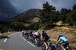 The peloton head towards dark clouds during Stage 3 of Tour de France 2020, running 198km from Nice to Sisteron, France. 31st August 2020.<br /> Picture: ASO/Pauline Ballet | Cyclefile<br /> All photos usage must carry mandatory copyright credit (© Cyclefile | ASO/Pauline Ballet)