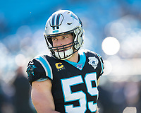 CHARLOTTE, NC - DECEMBER 15: Luke Kuechly #59 of the Carolina Panthers during a game between Seattle Seahawks and Carolina Panthers at Bank of America Stadium on December 15, 2019 in Charlotte, North Carolina.