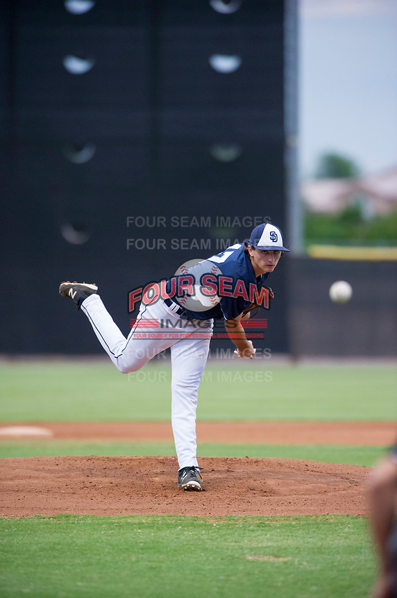 AZL Padres starting pitcher Sam Keating (47) follows through on his delivery against the AZL Indians at the San Diego Padres Spring Training Complex in Peoria, Arizona. AZL Padres defeated the AZL Indians 7-4. (Zachary Lucy/Four Seam Images)
