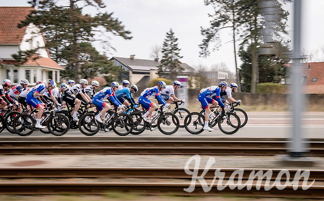 speeding peloton<br /> <br /> 45th Oxyclean Classic Brugge-De Panne 2021 (ME/1.UWT)<br /> 1 day race from Bruges to De Panne (204km)<br /> <br /> ©kramon