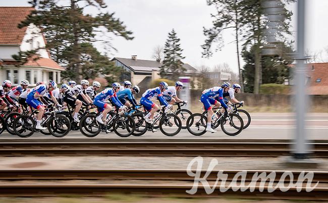 speeding peloton<br /> <br /> 45th Oxyclean Classic Brugge-De Panne 2021 (ME/1.UWT)<br /> 1 day race from Bruges to De Panne (204km)<br /> <br /> ©kramon