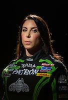 Jan 16, 2013; Palm Beach Gardens, FL, USA; NHRA funny car driver Alexis DeJoria poses for a portrait. Mandatory Credit: Mark J. Rebilas-