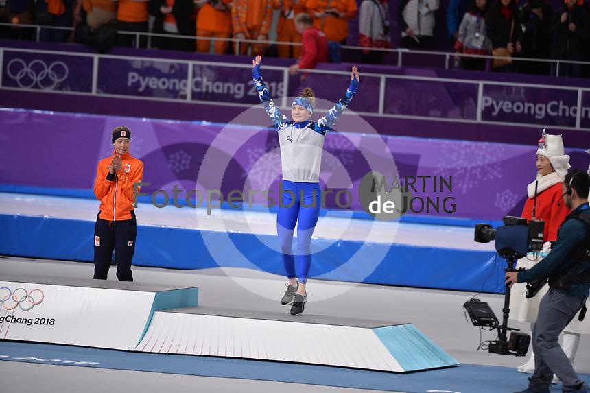 OLYMPIC GAMES: PYEONGCHANG: 16-02-2018, Gangneung Oval, Long Track, 5.000m Ladies, Final results, Esmee Visser (NED), Natalya Voronina (OAR), ©photo Martin de Jong