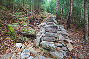 October 2012 - Stone steps along the Mt Tecumseh Trail in the White Mountains of New Hampshire. This staircase was maintained and cleaned up since the end of July 2012. In 2011, the year trail work (stone steps) was done in this section, there was no visible erosion on the hillside of the trail. See how this section of trail looked in 2011: http://bit.ly/3760BXz
