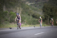 Rachel McBride leads the climb up the hill during the Accenture Ironman California 70.3 in Oceanside, CA on March 29, 2014.