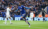Riyad Mahrez of Leicester City celebrates scoring the opening goal during the Barclays Premier League match between Leicester City and Swansea City played at The King Power Stadium, Leicester on April 24th 2016