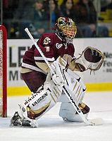 "19 January 2007: Boston College goaltender Corey Schneider from Marblehead, MA, warms up prior to a Hockey East division matchup against the University of Vermont at Gutterson Fieldhouse in Burlington, Vermont. The UVM Catamounts defeated the BC Eagles 3-2 before a record setting 50th consecutive sellout at ""the Gut""...Mandatory Photo Credit: Ed Wolfstein Photo."