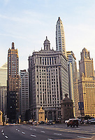Chicago: 1920's Skyscrapers, Ensemble. Looking toward Wacker from Michigan Ave. Bridge--from left, Carbide & Carbon, Stowe Container '23, Pure Oil Tower, and 35 East Wacker '26.