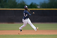 AZL Padres 2 second baseman Jordy Barley (55) makes a throw to first base during an Arizona League game against the AZL Padres 1 at Peoria Sports Complex on July 14, 2018 in Peoria, Arizona. The AZL Padres 1 defeated the AZL Padres 2 4-0. (Zachary Lucy/Four Seam Images)