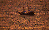 Landscape photograph of the Marigalante Pirate ship in Puerto Vallarta Mexico Seascape image capturing a spectacular sunset photograph