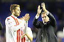 Stevenage manager Graham Westley and Robin Shroot applaud the fans at the end<br />  - Everton v Stevenage - Capital One Cup Second Round - Goodison Park, Liverpool - 28th August, 2013<br />  © Kevin Coleman 2013
