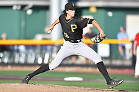 Bristol Pirates starting pitcher Dante Mendoza (16) delivers a pitch during game two of the Appalachian League, West Division Playoffs against the Johnson City Cardinals at TVA Credit Union Ballpark on August 31, 2019 in Johnson City, Tennessee. The Cardinals defeated the Pirates 7-4 to even the series at 1-1. (Tony Farlow/Four Seam Images)