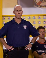 Bob Bradley watches his team. .USA clinches a spot in the  2010 World Cup after defeating Honduras in 3-1 during CONCACAF qualifying in San Pedro Sula, Honduras, October 10, 2009.