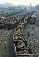 - train of iron wrecks  near a steel mill in Rhur area....- treno di rottami ferrosi presso una acciaieria nella zona della Rhur