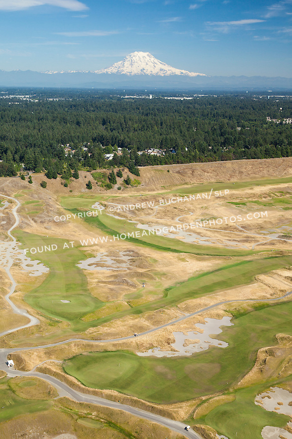 aerial view of Chambers Bay Golf Course looking roughly southeast with Mount Rainier behind, site of the 2015 US Open Championship; University Place, WA near Tacoma