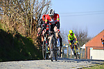 Danish Champion Kasper Asgreen (DEN) Deceuninck-Quick Step leads the chase on Oude Kwaremtont during the 73rd edition of Kuurne-Brussel-Kuurne 2021 running 197km from Kuurne to Kuurne, Belgium. 28th February 2021  <br /> Picture: Serge Waldbillig | Cyclefile<br /> <br /> All photos usage must carry mandatory copyright credit (© Cyclefile | Serge Waldbillig)