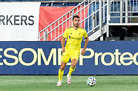 FOXBOROUGH, MA - OCTOBER 3: Daniel Lovitz #2 of Nashville SC looks to pass during a game between Nashville SC and New England Revolution at Gillette Stadium on October 3, 2020 in Foxborough, Massachusetts.