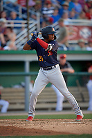 State College Spikes Moises Castillo (29) at bat during a NY-Penn League game against the Batavia Muckdogs on July 3, 2019 at Dwyer Stadium in Batavia, New York.  State College defeated Batavia 6-4.  (Mike Janes/Four Seam Images)