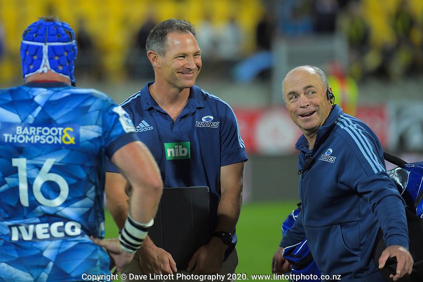 Blues head coach Leon McDonald and manager Richard Fry celebrate winning the Super Rugby match between the Hurricanes and Blues at Sky Stadium in Wellington, New Zealand on Saturday, 7 March 2020. Photo: Dave Lintott / lintottphoto.co.nz
