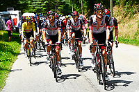 10th July 2021; Carcassonne, France; POGACAR Tadej (SLO) of UAE TEAM EMIRATES, FORMOLO Davide (ITA) of UAE TEAM EMIRATES, MCNULTY Brandon (USA) of UAE TEAM EMIRATES and BJERG Mikkel (DEN) of UAE TEAM EMIRATES during stage 14 of the 108th edition of the 2021 Tour de France cycling race, a stage of 183,7 kms between Carcassonne and Quillan