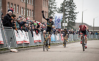 Toon Aerts (BEL/Telenet Baloise Lions) wins the 3-man-sprint that puts him on the highest podium step ahead of Michael Vanthourenhout (BEL/Pauwels Sauzen - Bingoal) & Lars van der Haar (NED/Telenet Baloise Lions)<br /> <br /> Elite + U23 Men's Race<br /> CX GP Leuven (BEL) 2020<br />  <br /> ©kramon