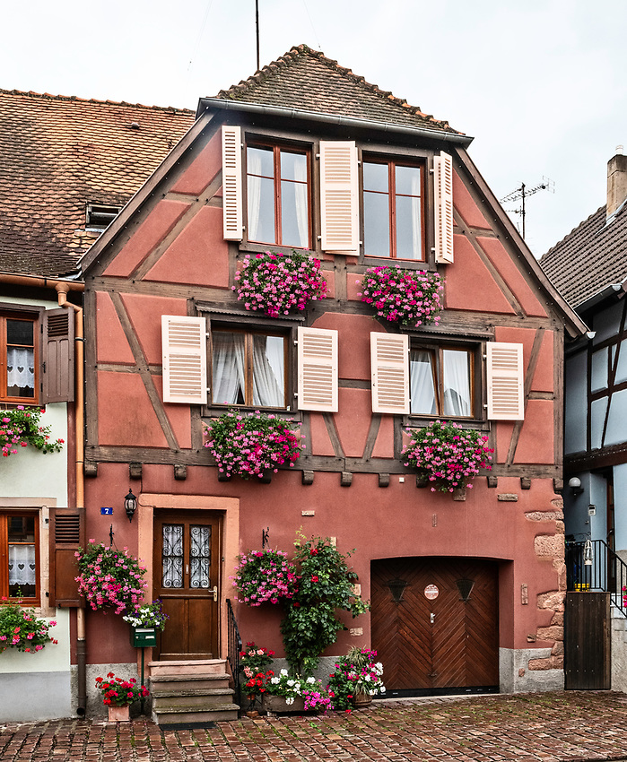 A colorful half-timbered house in the Alsatian town of Bergheim