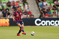 AUSTIN, TX - JULY 29: James Sands #16 of the United States during a game between Qatar and USMNT at Q2 Stadium on July 29, 2021 in Austin, Texas.