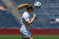 BRIDGEVIEW, IL - JUNE 5: Sam Mewis #5 of the North Carolina Courage heads the ball during a game between North Carolina Courage and Chicago Red Stars at SeatGeek Stadium on June 5, 2021 in Bridgeview, Illinois.
