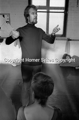 Norman Morrice, director of the Ballet Rambert London 1971. Dance studio rehearsal for That is the Show. Dancers Susie Cooper,( back view)