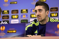 Wednesday 26 February 2014<br /> Pictured: Pablo Hernandez during the press conference<br /> Re: Swansea City FC press conference and training at San Paolo in Naples Italy for their UEFA Europa League game against Napoli.