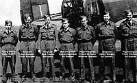 BNPS.co.uk (01202 558833)<br /> Pic: BeechAuctions/BNPS<br /> <br /> The doomed crew. Oskar Griffith (left) was celebrating his 21st birthday, McGuire is 3rd right.<br /> <br /> Sold for £700, after being rescued from a waste bin - the tragic tale of a doomed Lancaster crew - shot down on its last mission over Germany, on Christmas Eve 1944, the pilots 21st birthday...<br /> <br /> The poignant archive belonged to the family of Flt Sgt Ernest McGuire, wireless operator on the doomed Lancaster Bomber ND388 that set off on Christmas eve 1944.<br /> <br /> The aircraft was due to fly to it's 30th and final operation in Cologne from RAF Grimsby but never made it to its destination.
