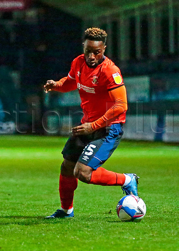 21st November 2020; Kenilworth Road, Luton, Bedfordshire, England; English Football League Championship Football, Luton Town versus Blackburn Rovers; Kazenga LuaLua of Luton Town trying to get ball into midfield
