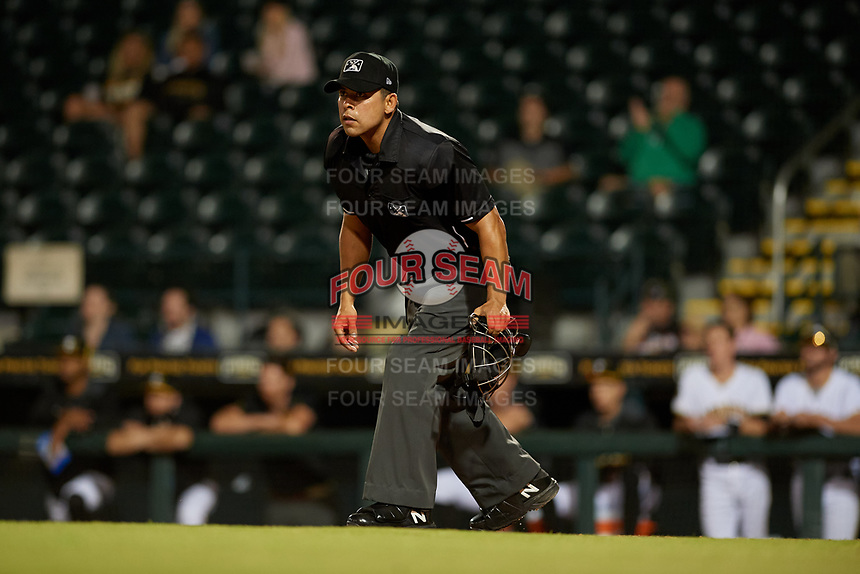 Umpire Jhonatan Biarreta during a Florida State League game between the Fort Myers Miracle and Bradenton Marauders on April 23, 2019 at LECOM Park in Bradenton, Florida.  Fort Myers defeated Bradenton 2-1.  (Mike Janes/Four Seam Images)