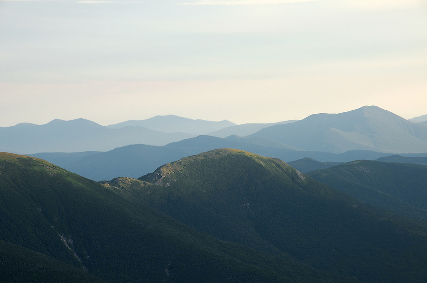 Light and shadow play upon ridge after ridge, above tree line on the Presidential Range.