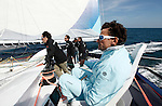 Onboard the MOD70 Race for Water, the first of the new series of oceanic one-design multihulls, skipper Steve Ravussin, Lorient, Brittany, France..Steve Ravussin.