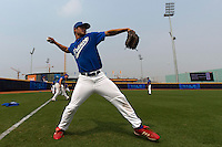 17 August 2007: Kenji Hagiwara practices during the Good Luck Beijing International baseball tournament (olympic test event) at the Wukesong Baseball Field in Beijing, China.