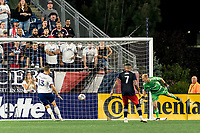 FOXBOROUGH, MA - AUGUST 18: Jon Kempin #21 of D.C. United makes a save which is cleared off the line by Frederic Brillant #13 of D.C. United during a game between D.C. United and New England Revolution at Gillette Stadium on August 18, 2021 in Foxborough, Massachusetts.