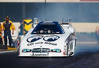 Feb 9, 2018; Pomona, CA, USA; NHRA funny car driver Jim Campbell during qualifying for the Winternationals at Auto Club Raceway at Pomona. Mandatory Credit: Mark J. Rebilas-USA TODAY Sports