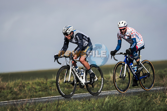 Jose Diaz Gallego (ESP) Nippo Delko Provence and Polka Dot Jersey Jonathan Hivert (FRA) Total Direct Energie out front during Stage 2 of the 78th edition of Paris-Nice 2020, running 166.5km form Chevreuse to Chalette-sur-Loing, France. 9th March 2020.<br /> Picture: ASO/Fabien Boukla | Cyclefile<br /> All photos usage must carry mandatory copyright credit (© Cyclefile | ASO/Fabien Boukla)