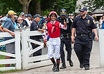 July 17, 2021: Ricardo Santana, Jr. enter the paddock before the start of the first race on Diana Day at Saratoga Race Course in Saratoga Springs, New York on July 17, 2021. Rob Simmons/Eclipse Sportswire/CSM