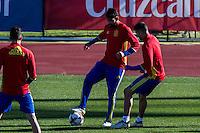 Spainsh Diego Costa and Lucas Vazquez during the training of the spanish national football team in the city of football of Las Rozas in Madrid, Spain. November 10, 2016. (ALTERPHOTOS/Rodrigo Jimenez) ///NORTEPHOTO.COM