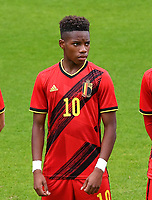Stanis Idumbo Muzambo (10) of Belgium pictured in action during a soccer game between the national teams Under17 Youth teams of  Norway and Belgium on day 3 in the Qualifying round in group 3 on Tuesday 12 th of October 2020  in Tubize , Belgium . PHOTO SPORTPIX | DAVID CATRY