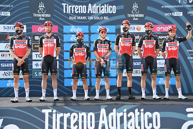Lotto-Soudal at sign on before the start of Stage 1 of Tirreno-Adriatico Eolo 2021, running 156km from Lido di Camaiore to Lido di Camaiore, Italy. 10th March 2021. <br /> Photo: LaPresse/Gian Mattia D'Alberto | Cyclefile<br /> <br /> All photos usage must carry mandatory copyright credit (© Cyclefile | LaPresse/Gian Mattia D'Alberto)