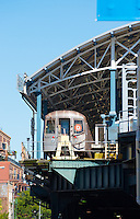 D train in dead end in Coney Island subway station, Brooklyn, New York