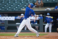 Griffin Conine (9) of the Duke Blue Devils follows through on his swing against the Florida State Seminoles in the first semifinal of the 2017 ACC Baseball Championship at Louisville Slugger Field on May 27, 2017 in Louisville, Kentucky. The Seminoles defeated the Blue Devils 5-1. (Brian Westerholt/Four Seam Images)