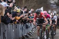 Tiesj Benoot (BEL/Lotto Soudal) and up the 3th passage of the Oude Kwaremont. <br /> <br /> <br /> 102nd Ronde van Vlaanderen 2018<br /> 1day race: Antwerp › Oudenaarde - BEL (265k)