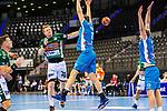 Nicolai Theilinger (FRISCH AUF! Goeppingen #3) ; Adam Loenn (TVB Stuttgart #11) ;  BGV Handball Cup 2020 Finaltag: TVB Stuttgart vs. FRISCH AUF Goeppingen am 13.09.2020 in Stuttgart (PORSCHE Arena), Baden-Wuerttemberg, Deutschland<br /> <br /> Foto © PIX-Sportfotos *** Foto ist honorarpflichtig! *** Auf Anfrage in hoeherer Qualitaet/Aufloesung. Belegexemplar erbeten. Veroeffentlichung ausschliesslich fuer journalistisch-publizistische Zwecke. For editorial use only.