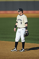 Wake Forest Demon Deacons first baseman Bobby Seymour (3) on defense against the Gardner-Webb Runnin' Bulldogs at David F. Couch Ballpark on February 18, 2018 in  Winston-Salem, North Carolina. The Demon Deacons defeated the Runnin' Bulldogs 8-4 in game one of a double-header.  (Brian Westerholt/Four Seam Images)